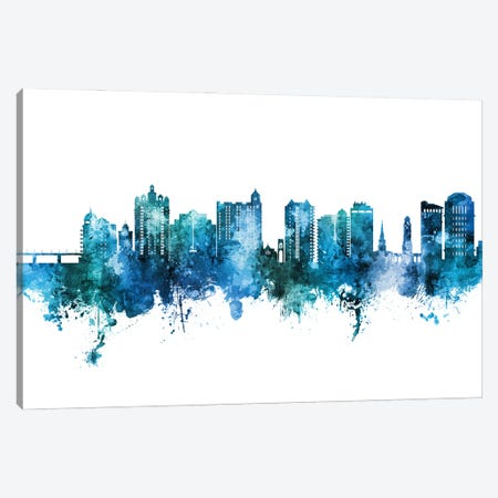Sarasota Florida Skyline Blue Teal Canvas Print #MTO2905} by Michael Tompsett Canvas Artwork