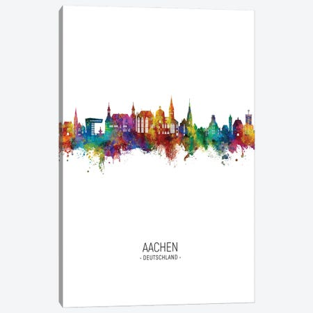 Aachen Germany Skyline Portrait Canvas Print #MTO2906} by Michael Tompsett Canvas Wall Art