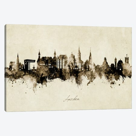Aachen Germany Skyline Vintage Canvas Print #MTO2907} by Michael Tompsett Canvas Artwork