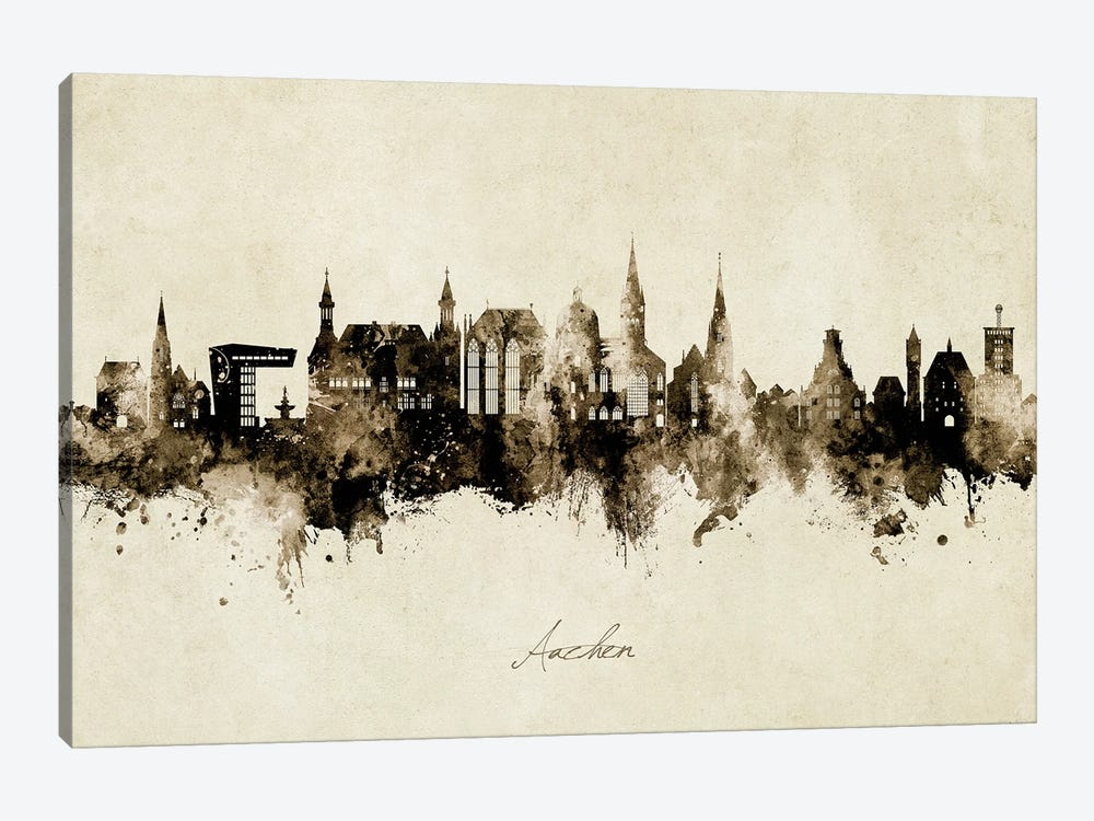 Aachen Germany Skyline Vintage by Michael Tompsett 1-piece Canvas Artwork