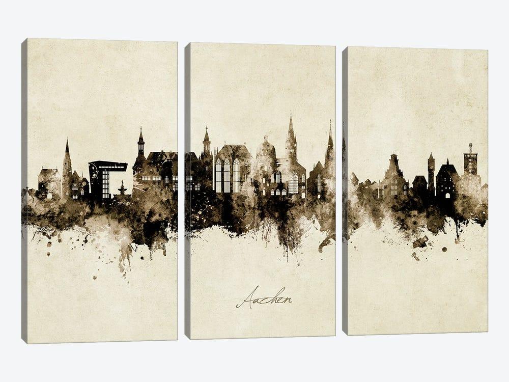 Aachen Germany Skyline Vintage by Michael Tompsett 3-piece Canvas Wall Art
