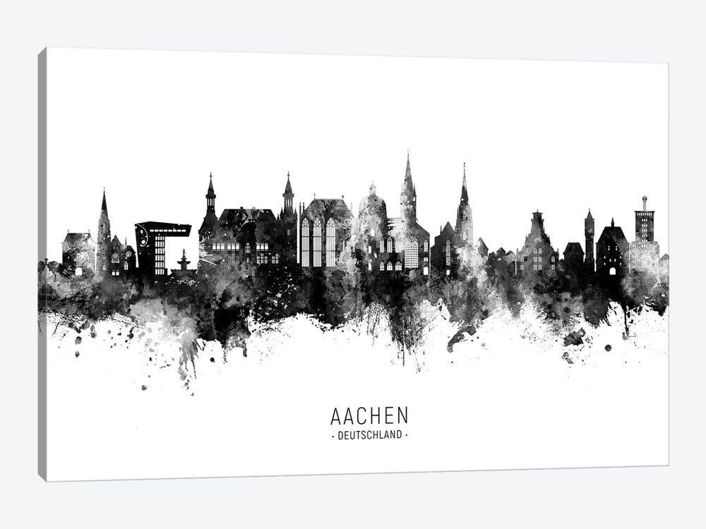 Aachen Germany Skyline Name Bw by Michael Tompsett 1-piece Canvas Print