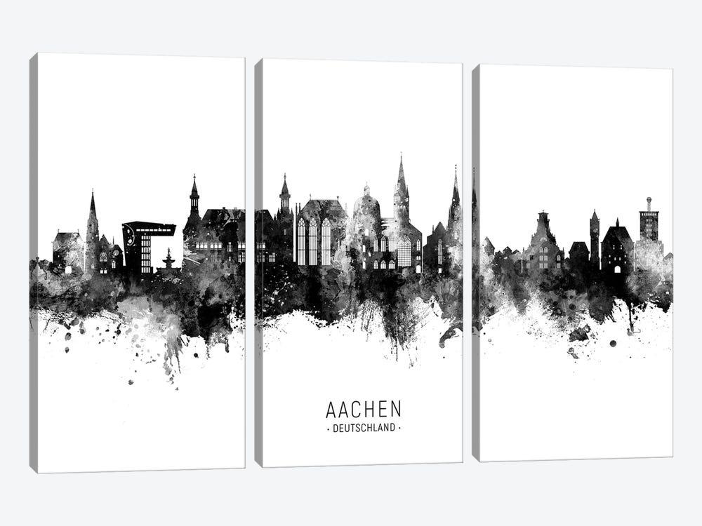 Aachen Germany Skyline Name Bw by Michael Tompsett 3-piece Canvas Art Print