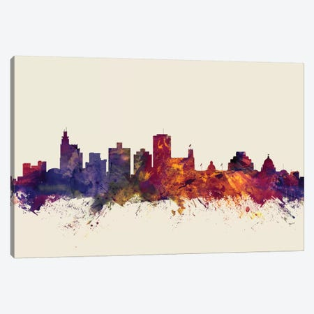 Jackson, Mississippi, USA On Beige Canvas Print #MTO290} by Michael Tompsett Canvas Artwork