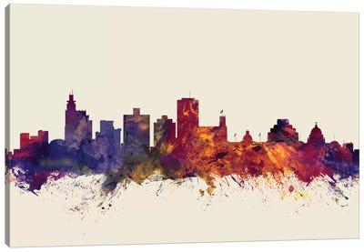 Skyline Series: Jackson, Mississippi, USA On Beige Canvas Print #MTO290