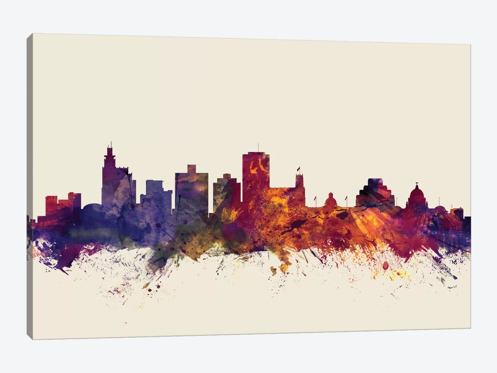 Skyline Series: Jackson, Mississippi, USA On Beige by Michael Tompsett 1-piece Art Print