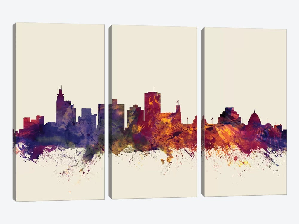 Skyline Series: Jackson, Mississippi, USA On Beige 3-piece Canvas Art Print