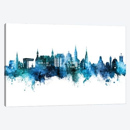 Aachen Germany Skyline Blue Teal Canvas Print #MTO2910} by Michael Tompsett Canvas Art