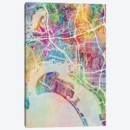 San Diego Map Color Canvas Print #MTO2911} by Michael Tompsett Canvas Art