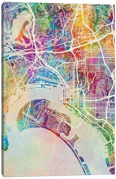 San Diego Map Color Canvas Art Print