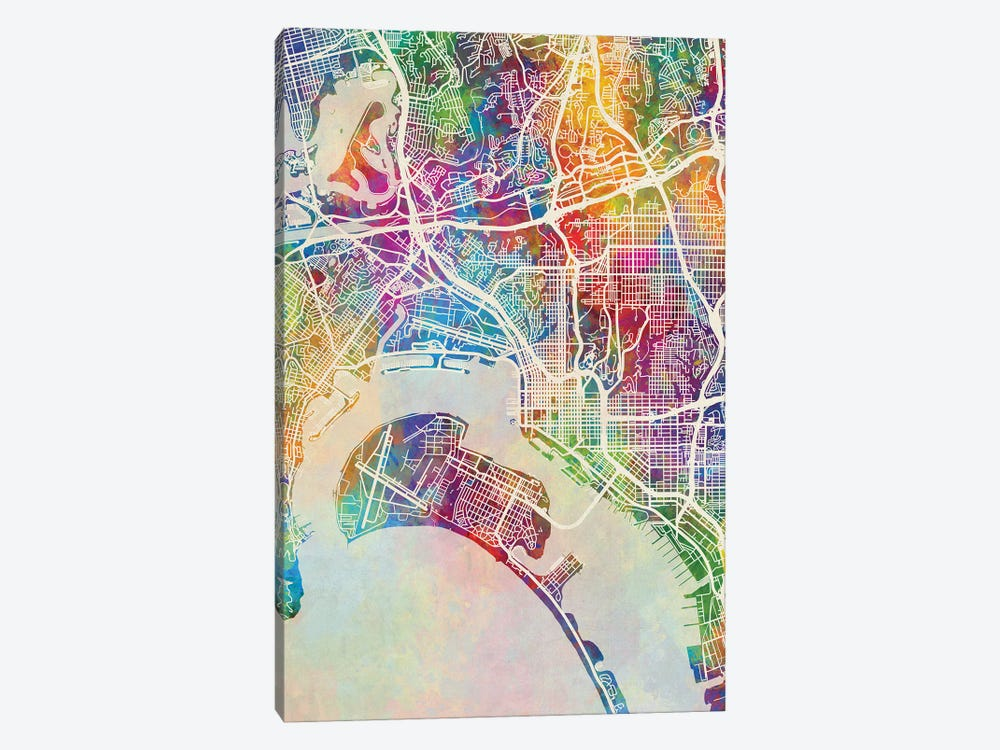 San Diego Map Color by Michael Tompsett 1-piece Canvas Art Print