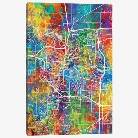 Ann Arbor Map Color Canvas Print #MTO2912} by Michael Tompsett Canvas Art