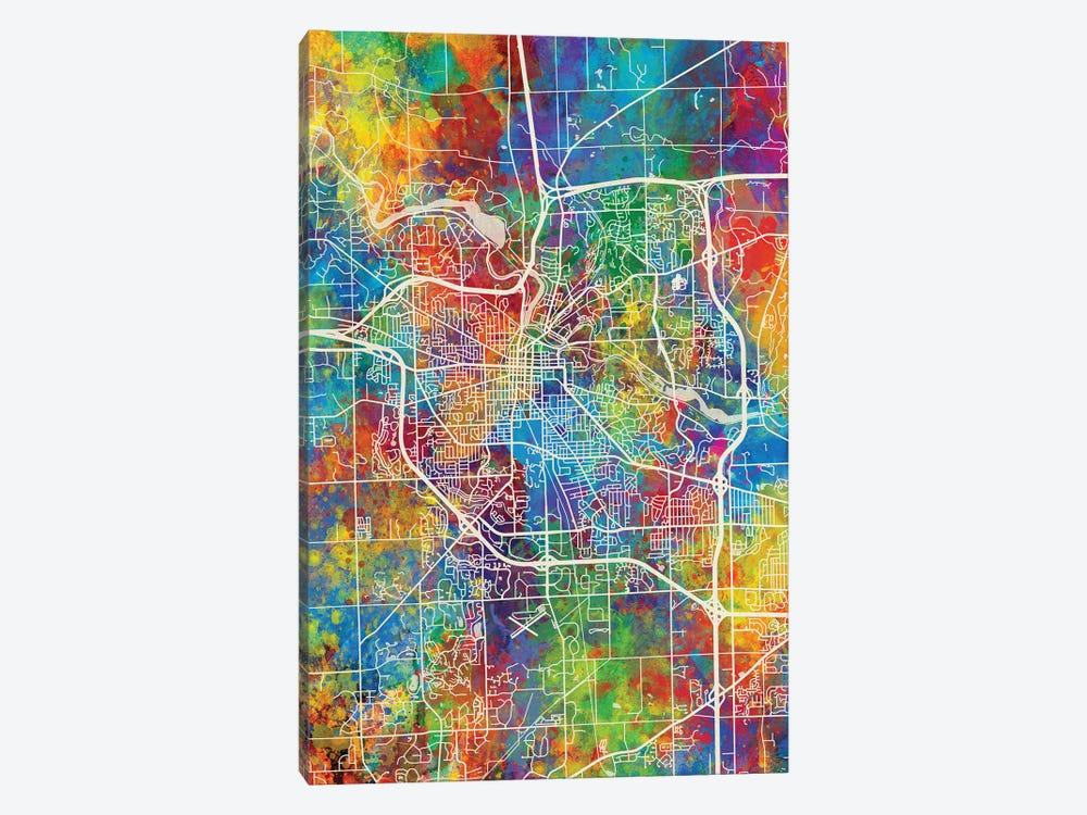 Ann Arbor Map Color by Michael Tompsett 1-piece Canvas Wall Art