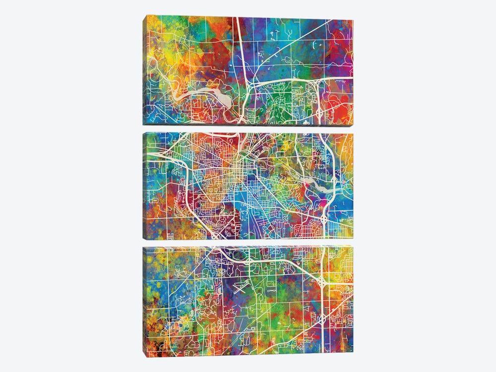 Ann Arbor Map Color by Michael Tompsett 3-piece Canvas Artwork