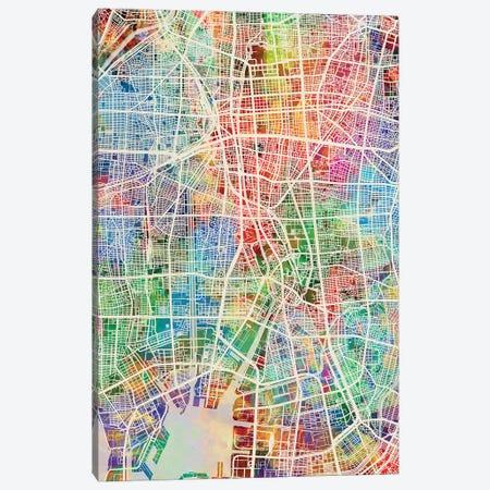 Nagoya Japan Map Color Canvas Print #MTO2913} by Michael Tompsett Canvas Artwork