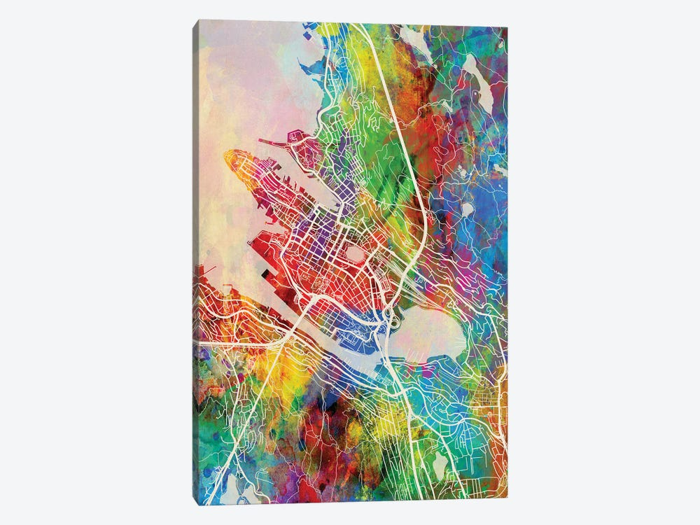 Bergen Norway Map Color by Michael Tompsett 1-piece Canvas Wall Art
