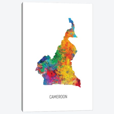 Cameroon Map Canvas Print #MTO2917} by Michael Tompsett Canvas Art Print