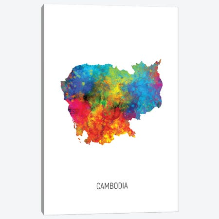 Cambodia Map Canvas Print #MTO2918} by Michael Tompsett Canvas Wall Art