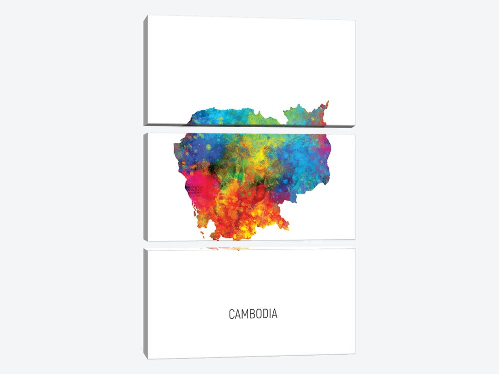 Cambodia Map by Michael Tompsett 3-piece Canvas Wall Art