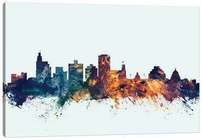 Skyline Series: Jackson, Mississippi, USA On Blue Canvas Print #MTO291