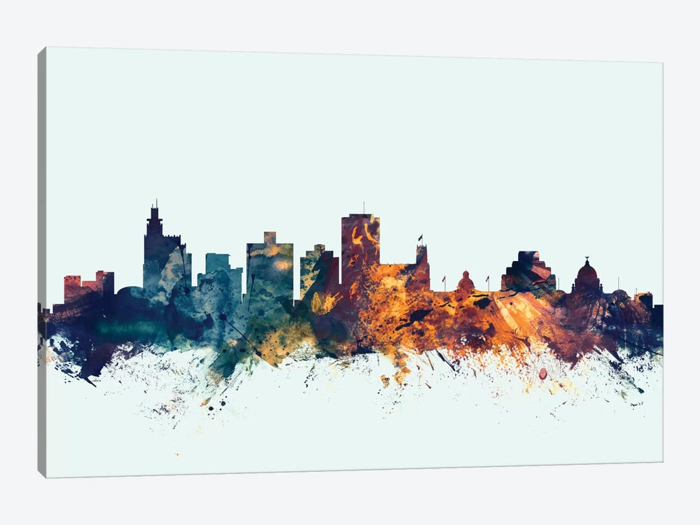 Skyline Series: Jackson, Mississippi, USA On Blue by Michael Tompsett 1-piece Canvas Art