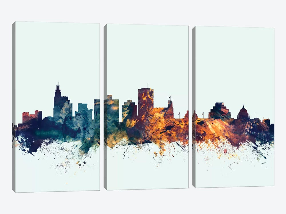 Skyline Series: Jackson, Mississippi, USA On Blue by Michael Tompsett 3-piece Canvas Artwork
