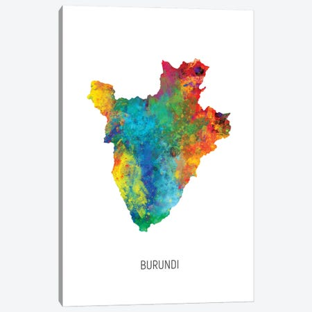 Burundi Map Canvas Print #MTO2920} by Michael Tompsett Canvas Art Print