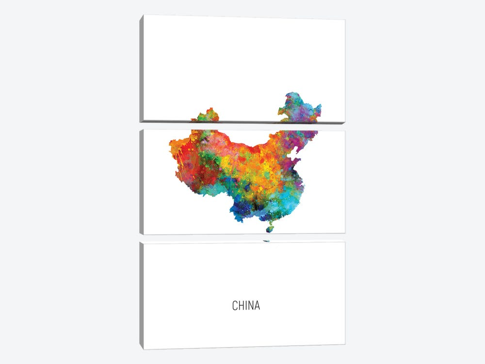China Map by Michael Tompsett 3-piece Canvas Artwork