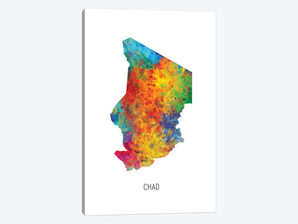 Chad Map by Michael Tompsett 1-piece Art Print