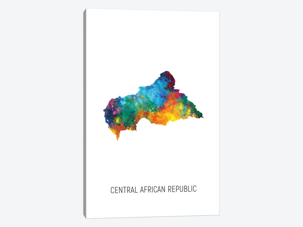 Central African Republic Map by Michael Tompsett 1-piece Canvas Artwork