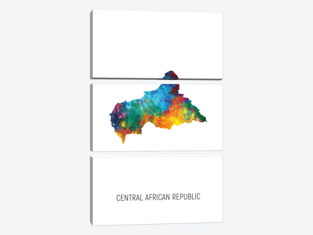 Central African Republic Map 3-piece Canvas Art