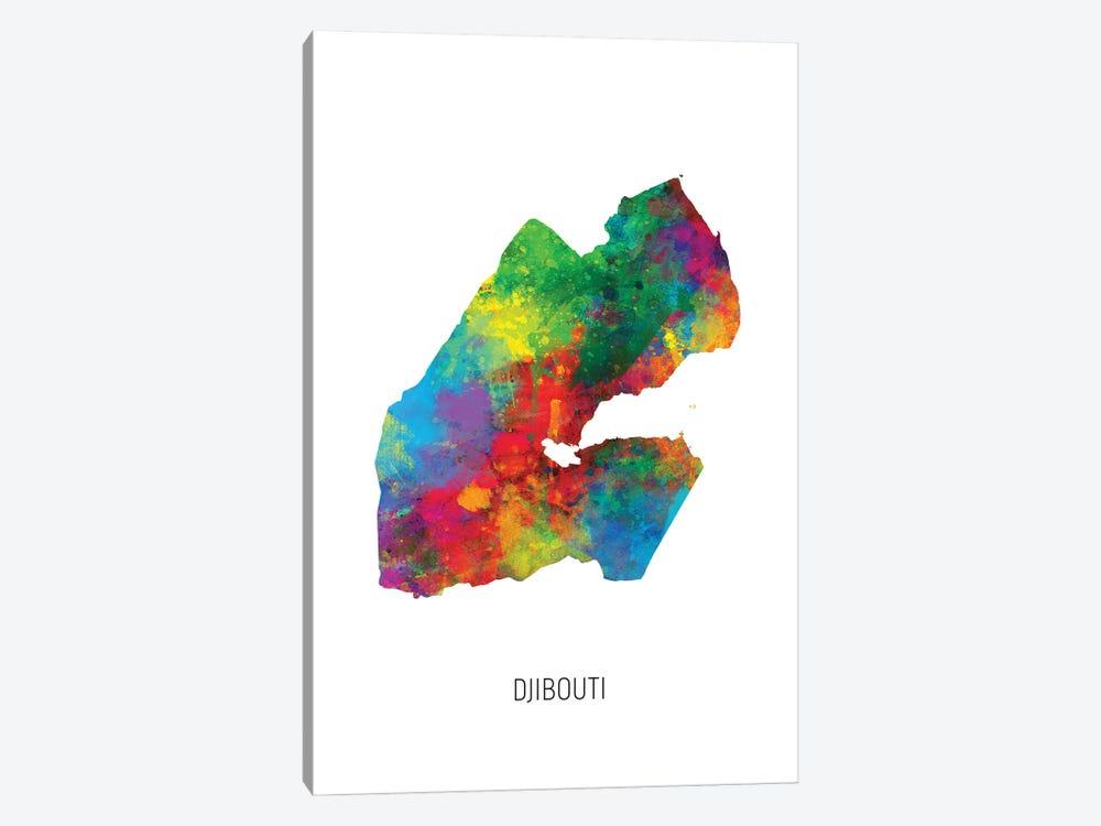 Djibouti Map by Michael Tompsett 1-piece Canvas Art Print