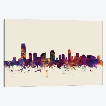 Jersey City, New Jersey, USA On Beige Canvas Print #MTO292} by Michael Tompsett Canvas Art