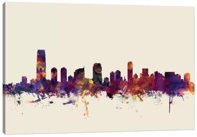 Skyline Series: Jersey City, New Jersey, USA On Beige Canvas Print #MTO292