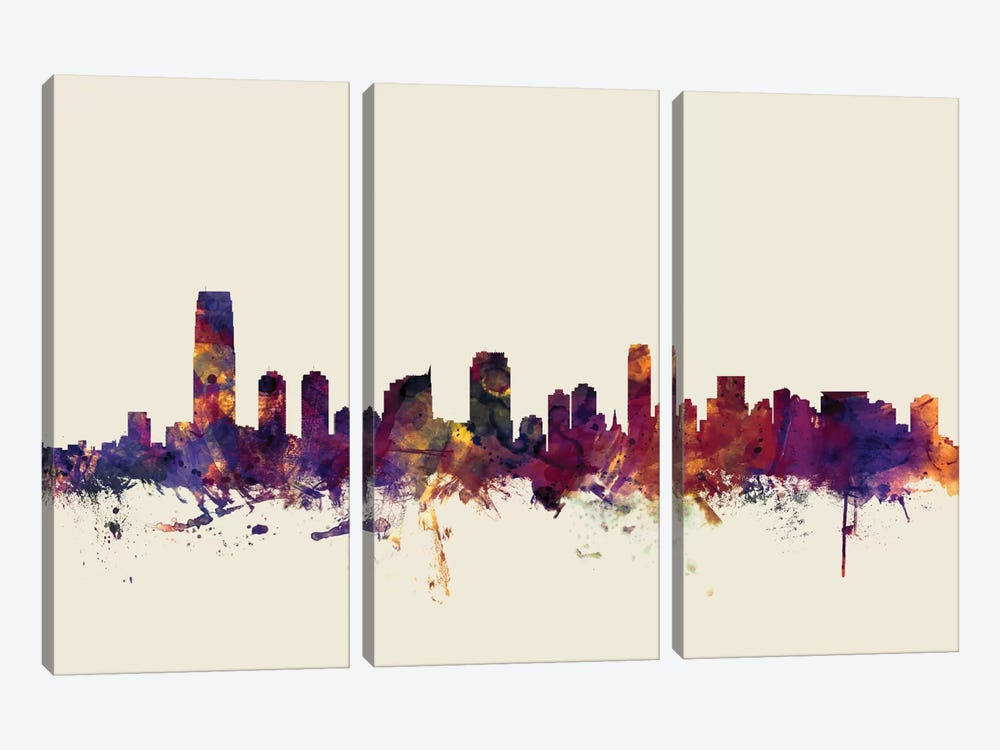 Jersey City, New Jersey, USA On Beige by Michael Tompsett 3-piece Canvas Print