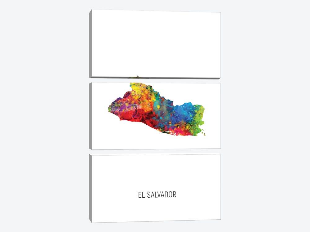 El Salvador Map by Michael Tompsett 3-piece Canvas Art Print