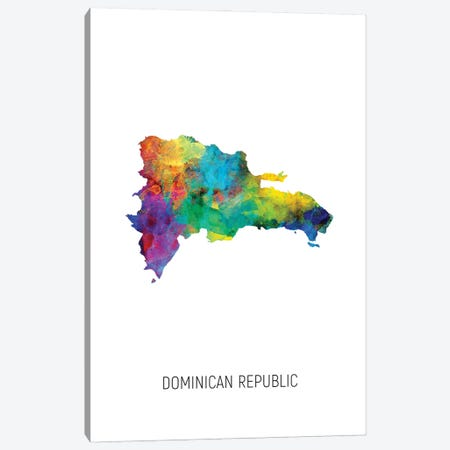 Dominican Republic Map Canvas Print #MTO2935} by Michael Tompsett Canvas Print