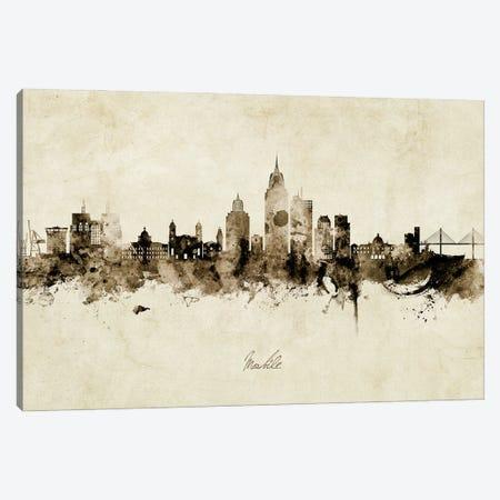Mobile Alabama Skyline Vintage Canvas Print #MTO2937} by Michael Tompsett Canvas Art Print