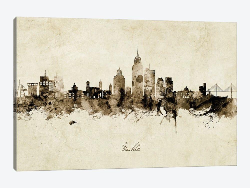 Mobile Alabama Skyline Vintage by Michael Tompsett 1-piece Canvas Print