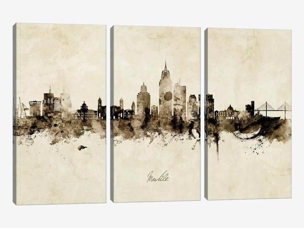 Mobile Alabama Skyline Vintage by Michael Tompsett 3-piece Canvas Print