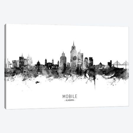 Mobile Alabama Skyline Name Bw Canvas Print #MTO2938} by Michael Tompsett Canvas Art