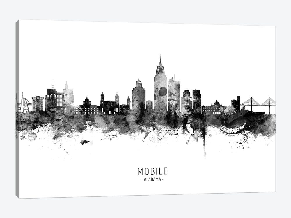 Mobile Alabama Skyline Name Bw by Michael Tompsett 1-piece Canvas Artwork