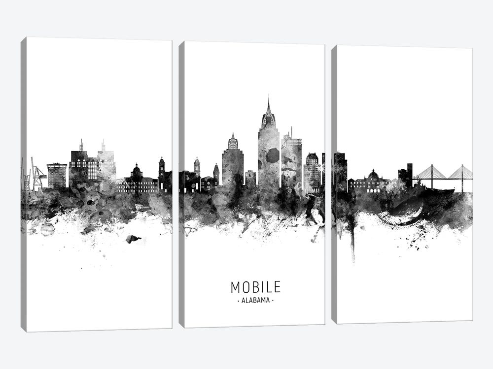 Mobile Alabama Skyline Name Bw by Michael Tompsett 3-piece Canvas Artwork