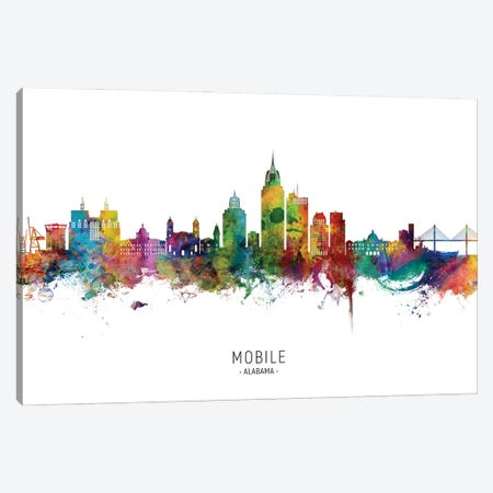 Mobile Alabama Skyline City Name Canvas Print #MTO2939} by Michael Tompsett Canvas Artwork
