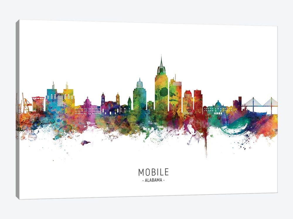 Mobile Alabama Skyline City Name by Michael Tompsett 1-piece Canvas Art Print