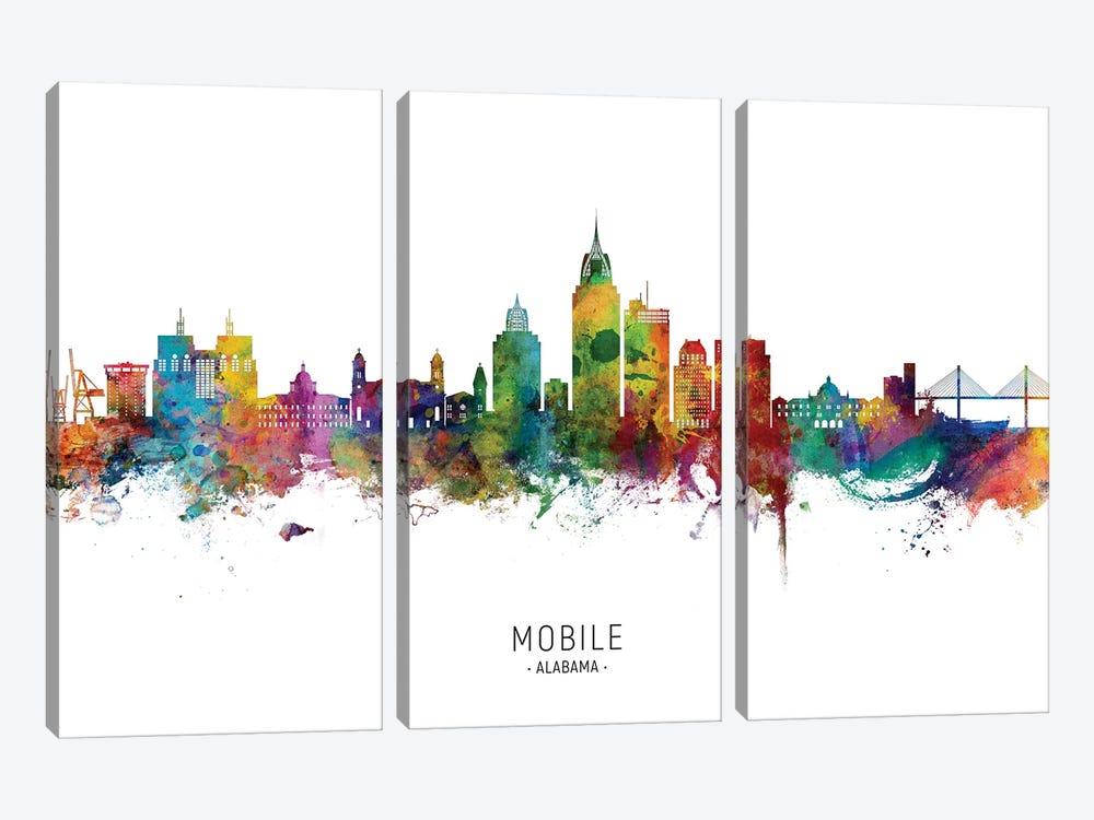 Mobile Alabama Skyline City Name by Michael Tompsett 3-piece Art Print