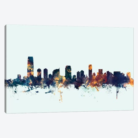 Jersey City, New Jersey, USA On Blue Canvas Print #MTO293} by Michael Tompsett Canvas Wall Art
