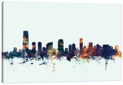 Jersey City, New Jersey, USA On Blue Canvas Art Print