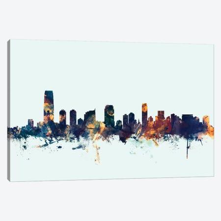 Jersey City, New Jersey, USA On Blue Canvas Print #MTO293} by Michael Tompsett Canvas Wall Art
