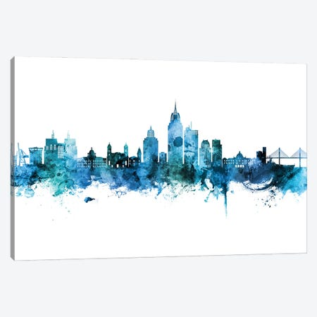 Mobile Alabama Skyline Blue Teal Canvas Print #MTO2940} by Michael Tompsett Canvas Print